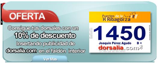 Oferta 10% descuento en dorsales con publicidad de dorsalia.com en el faldón inferior.